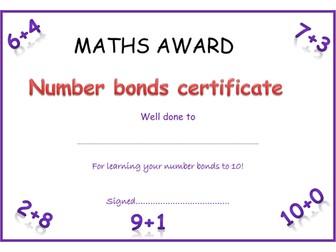 number bonds certificate