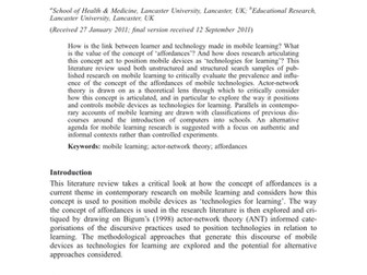 Technologies for learning? An actor-network theory