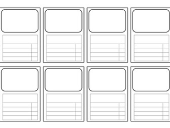 templates for Top Trumps-style cards: ALL subjects