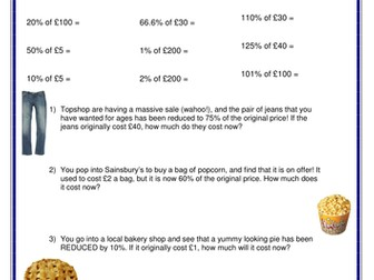 Shopping-themed percentages of amounts worksheets