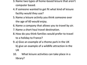 Leisure and Tourism - recap (edexcel)