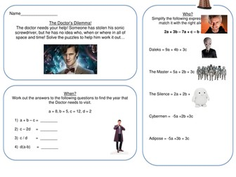 Algebra puzzle - solve a Dr.Who mystery!
