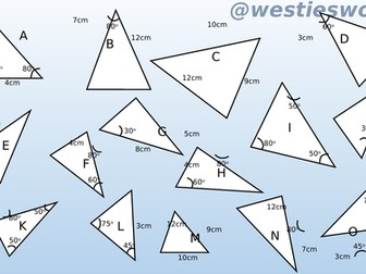 Congruent triangles Matching activity