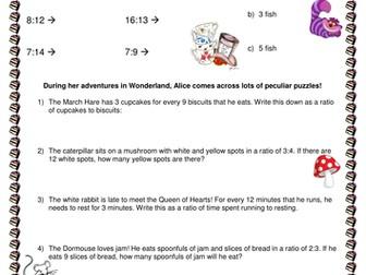 Ratios - Alice in Wonderland themed activities!