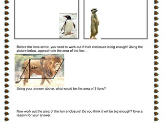 Areas of 2D Shapes - Zoo-themed activity! <(')