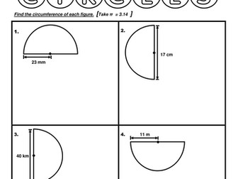 Year 6 - Circumference of Semicircles (Worksheet)