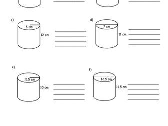 Volume of Cylinders Worksheet by HolyheadSchool - Teaching ...