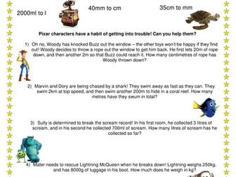 Converting metric measures - Disney Pixar theme!