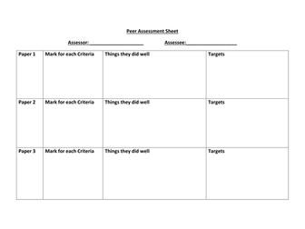 Social Anthropology; Peer Assessment