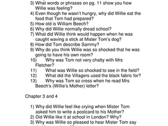 goodnight mister tom questions by callen teaching resources tes