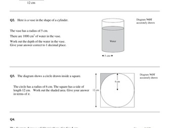 Volume and Area  - A/A* GCSE questions