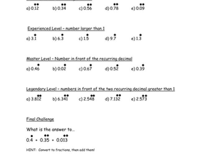 math worksheet : recurring decimals to fractions worksheet by samfletch18  : Recurring Decimals To Fractions Worksheet