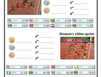 Olympic Ordering Decimals