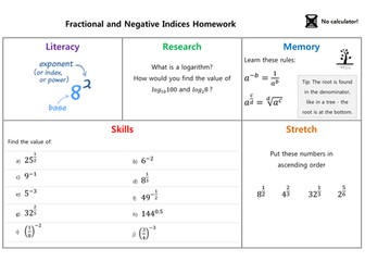 Fractional and negative indices homework