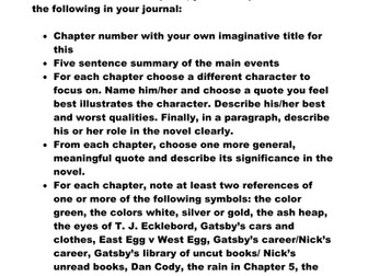 Reading Journal: The Great Gatsby