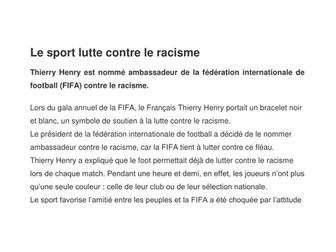 Article - Le sport lutte contre le racisme