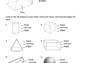 Count the faces; edges; vertices of 3D shapes