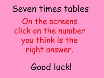 Interactive seven multiplication table