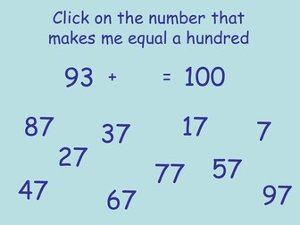 Number Bonds to One Hundred