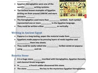 Ancient Egypt Achievments PowerPoint and Handout