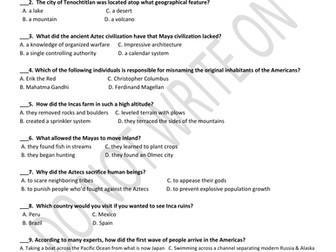 Aztec, Inca, and Maya Unit Assessmesment & Answers