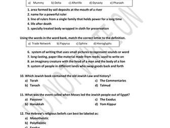 Ancient Egypt Unit Assessment & Answer Key