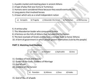 Ancient Greece Unit Assessment & Answer Key