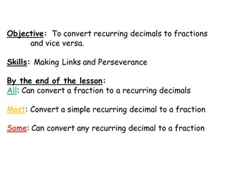 Converting fractions to & from recurring decimals