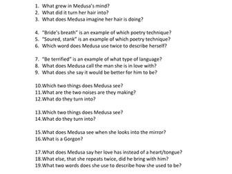 """""""Medusa""""      -- Comprehension Questions"""