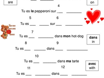 Valentine's Day French Food Poems