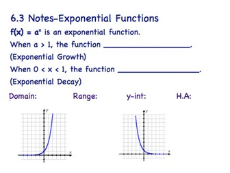 Exponential Function Guided Notes & Answer Key by Gwamer1