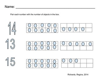 Pair number with ten frame, Number (13, 14, 15)