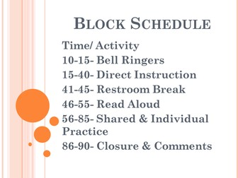 Reading Block Schedule