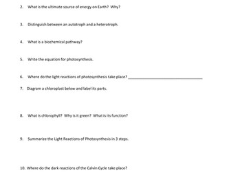 Study Guide Photosynthesis and Cell  Respiration