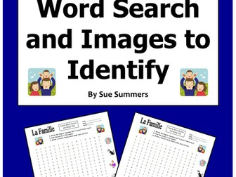 French Family and Pets Word Search Puzzle, Image IDs, and