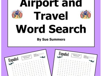 Spanish Airport and Travel Word Search Puzzle and Image IDs
