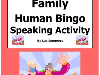 Spanish Family Human Bingo Game Speaking Activity & Follow-Up