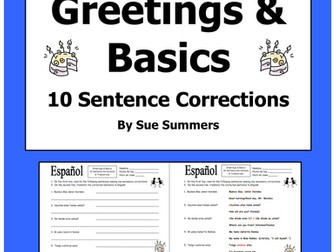 Spanish Greetings and Basics 10 Sentence Corrections and Translations