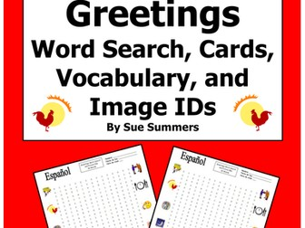 Spanish Greetings Word Search Puzzle, Vocabulary, Cards, and Image IDs