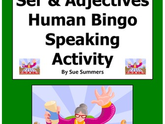 Spanish Ser and Adjectives Human Bingo Game Speaking Activity and Follow-Up