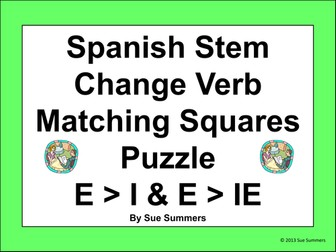 Spanish Stem Change Verbs Matching Squares Puzzle E-I AND E-IE