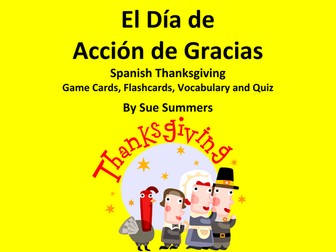 Spanish Thanksgiving Food Game Cards, Flashcards, Quiz, and Vocabulary
