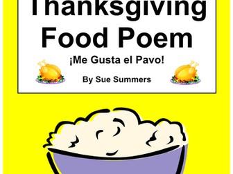 Spanish Thanksgiving Food Poem - Me Gusta El Pavo / I Like Turkey