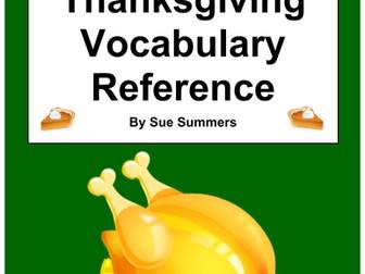 Spanish Thanksgiving Vocabulary Reference - English to Spanish 41 Words