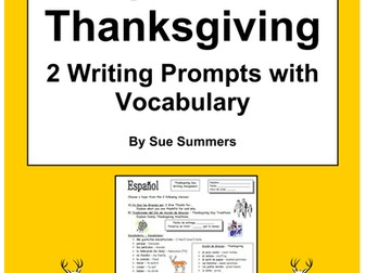 Spanish Thanksgiving Vocabulary Writing Assignment - 2 Writing Prompts