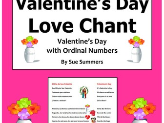 Spanish Valentine's Day and Ordinal Numbers Chant