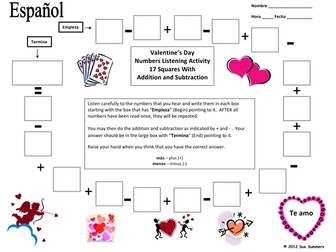 Spanish Valentine's Day Numbers and Math Listening Activity
