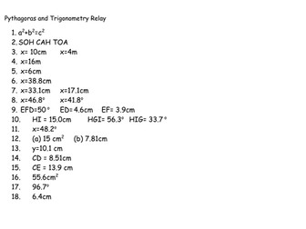 Pythagoras and Trig Relay Race