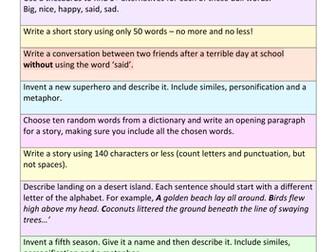 KS3 Creative Writing SOW