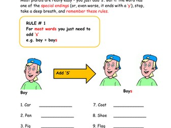 Plurals worksheet and revision for KS2 or low ability KS3